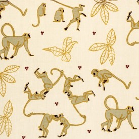 Monkeys - Sage/Gold/Natural - Linen - £135 pm